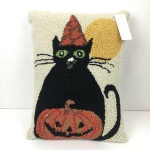 NWT Halloween Black Cat Pumpkin Throw Pillow